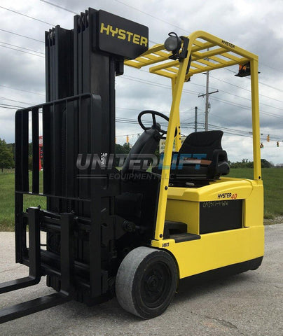 2007 HYSTER J40ZT 4000 LB 48 VOLT ELECTRIC FORKLIFT CUSHION SIDE SHIFTER 80/223 QUAD MAST 2977 HOURS STOCK # BF982439-BUF - United Lift Used & New Forklift Telehandler Scissor Lift Boomlift
