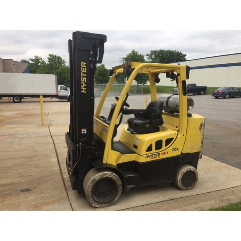 2010 HYSTER S100FTBCS 10000 LB LP GAS FORKLIFT CUSHION 100/209 3 STAGE MAST 6634 HOURS STOCK # BF9127869-199-MAT