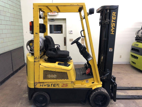 2003 HYSTER S25XM 5000 LB LP GAS FORKLIFT CUSHION 83/189 3 STAGE MAST SIDE SHIFTER 2156 HOURS STOCK # BF9053699-BEMIN