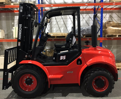 "2020 HANGCHA 35-RT 4WD 7000 LB FORKLIFT DIESEL ROUGH TERRAIN 93/185 3 STAGE MAST SIDE SHIFTER 48"" FORKS STOCK # BF9343219-PENC - United Lift Used & New Forklift Telehandler Scissor Lift Boomlift"