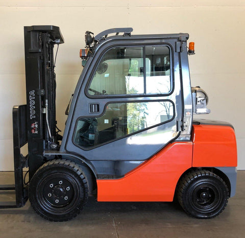 "2014 TOYOTA 8FGU32 6500 LB LP GAS FORKLIFT PNEUMATIC 89/187"" 3 STAGE MAST ENCLOSED CAB 3,545 HOURS STOCK # BF9126529-BUF"