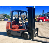 "1997 TOYOTA FGC35 8000 LB LP GAS FORKLIFT CUSHION 185"" 3 STAGE MAST SIDE SHIFTER 6800 HOURS STOCK # BF973199-AXTX - united-lift-equipment"