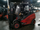 "2012 Linde H45T 10000 LB LP GAS FORKLIFT PNEUMATIC 95/124"" 2 STAGE MAST PARTIAL CAB 6830 HOURS STOCK # BF912819-ALTB"