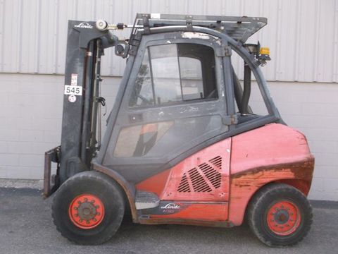 "2013 LINDE H50D 10000 LB DIESEL FORKLIFT PNEUMATIC 2 STAGE MAST 93/123"" ENCLOSED HEATED CAB SIDE STOCK # BF919219-PEIN - united-lift-equipment"