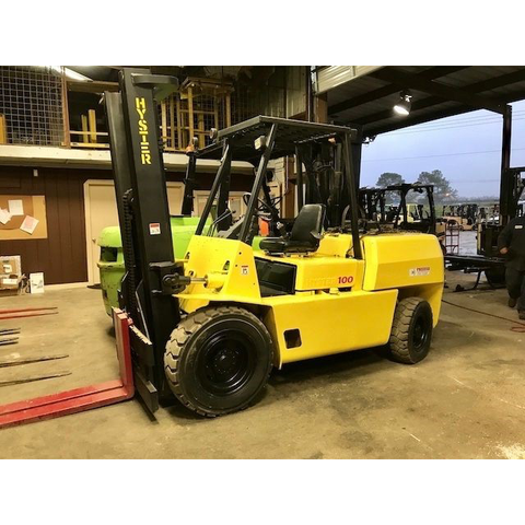 "1996 HYSTER H100XL 10000 LB LP GAS FORKLIFT PNEUMATIC 194"" 3 STAGE MAST 7962 HOURS STOCK # BF910259-AXTX - united-lift-equipment"