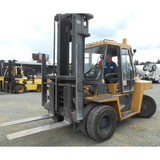 "2002 CAT DP70 15500 DIESEL FORKLIFT PNEUMATIC 129/177"" 2 STAGE MAST DUAL TIRES ENCLOSED CAB STOCK # BF931519-PENC - united-lift-equipment"