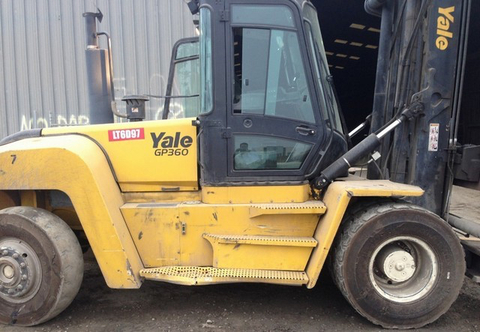 "2012 YALE GDP360 36000 LB DIESEL FORKLIFT PNEUMATIC 192/244"" 2 STAGE MAST STOCK # BF9927209-PECA"