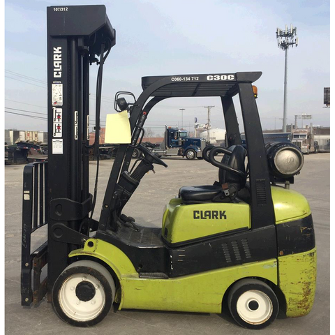 2012 CLARK C30C-QUAD 6000 LB CAPACITY LP GAS FORKLIFT CUSHION 107/312 4 STAGE MAST SIDE SHIFTER ONLY 4303 HOURS STOCK # BF989129-PEIL