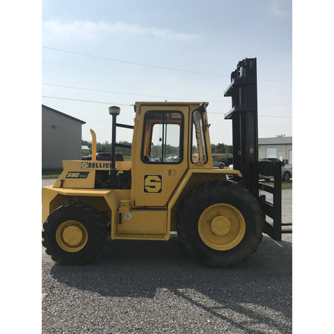 2001 SELLICK SD80 8000 LB DIESEL ROUGH TERRAIN 4WD FORKLIFT ENCLOSED CAB 121/169 2 STAGE MAST 2624 HOURS STOCK # BF9183249-329-BUF