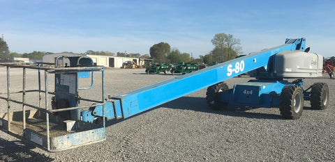 2007 GENIE S80 500 LBS DIESEL TELESCOPIC BOOM LIFT 80′ REACH PNEUMATIC 1700 HOURS STOCK # BF9319829-AGAL