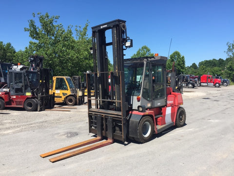 "2011 KALMAR DCE75-6 16500 LB CAPACITY DIESEL FORKLIFT PNEUMATIC 140/187"" 2 STAGE MAST SIDE SHIFTING FORK POSITIONER ENCLOSED CAB 4700 HOURS STOCK # BF9452549-599-CPA"