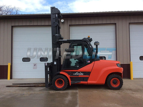 "2012 LINDE H80D-100 17500 LB DIESEL FORKLIFT PNEUMATIC 180/254"" 2 STAGE MAST SIDE SHIFTING FORK POSITIONER ENCLOSED CAB 4503 HOURS STOCK # BF9479539-NTIA - United Lift Used & New Forklift Telehandler Scissor Lift Boomlift"