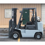 1998 NISSAN APJ02A25PV 5000 LB LP GAS FORKLIFT PNEUMATIC 187 3 STAGE MAST SIDE SHIFTER 6485 HOURS STOCK # 8882-9U0096-ARB