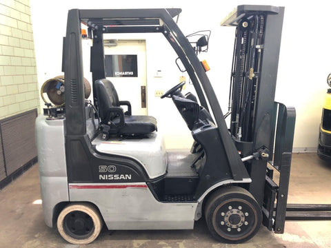 "2008 NISSAN CF50 5000 LB LP GAS FORKLIFT CUSHION 83/187"" 3 STAGE MAST SIDE SHIFTER 10038 HOURS STOCK # BF9054199-BEMIN"