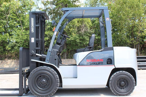 2014 NISSAN UNICARRIERS MD1F4A40V 9000 LB DIESEL FORKLIFT PNEUMATIC 84/187 3 STAGE MAST SIDE SHIFTER 7002 HOURS STOCK # BF9194949-RIL2