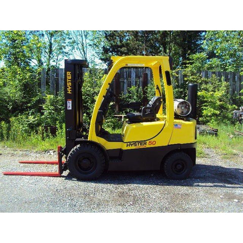 2006 HYSTER H50FT 5000 LB LP GAS FORKLIFT PNEUMATIC 83/189 3 STAGE MAST SIDE SHIFTER 6037 HOURS STOCK # BF9112569-189-BUF