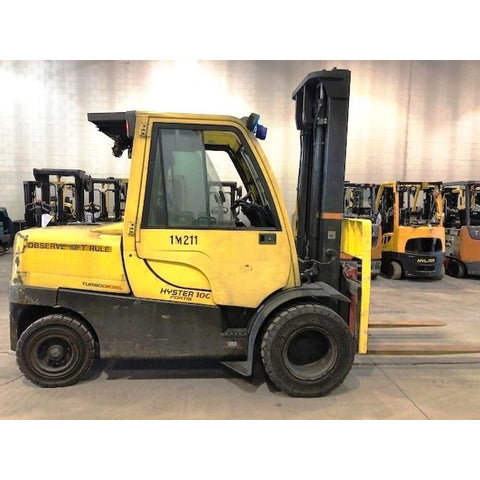 2012 HYSTER H100FT 10000 LB DIESEL FORKLIFT PNEUMATIC 111/155 2 STAGE MAST DUAL TIRES 5689 HOURS STOCK # BF9235129-339-CONB