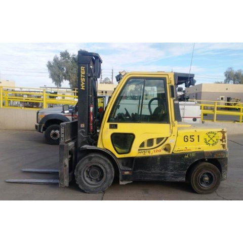 2014 HYSTER H120FT 12000 LB DIESEL FORKLIFT PNEUMATIC 107/149 2 STAGE MAST SIDE SHIFTER ENCLOSED CAB 9724 HOURS STOCK # BF44065-CONB