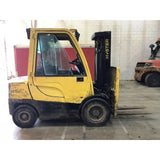 2014 HYSTER H60FT 6000 LB DIESEL FORKLIFT PNEUMATIC 85/181 3 STAGE MAST SIDE SHIFTER 7534 HOURS STOCK # BF91642-CONB