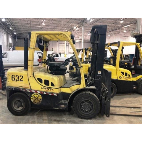 2012 HYSTER H80FT 8000 LB DIESEL FORKLIFT PNEUMATIC 98/143 2 STAGE MAST SIDE SHIFTER 7508 HOURS STOCK # BF9128499-229-CONB