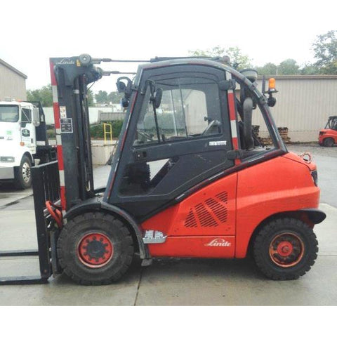 2008 LINDE H45D 10000 LB DIESEL FORKLIFT PNEUMATIC 96/123 2 STAGE MAST SIDE SHIFTER & FORK POSITIONER ENCLOSED CAB 2982 HOURS STOCK # BF9294829-369-CONB