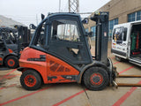 "2012 LINDE H45D 9000 LB DIESEL FORKLIFT PNEUMATIC 94/184"" 3 STAGE MAST CASCADE ROTATOR ENCLOSED CAB 5458 HOURS STOCK # BF9351179-CONB - United Lift Used & New Forklift Telehandler Scissor Lift Boomlift"