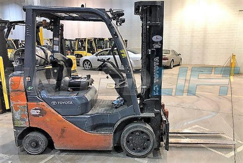 "2016 TOYOTA 8FGCU25 5000 LB LP GAS FORKLIFT CUSHION 82/189"" 3 STAGE MAST SIDE SHIFTER 5535 HOURS STOCK # BF9121919-CONB"