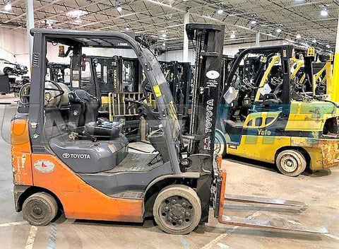 "2016 TOYOTA 8FGCU25 5000 LB LP GAS FORKLIFT CUSHION 82/189"" 3 STAGE MAST SIDE SHIFTER 4184 HOURS STOCK # BF9121899-CONB"
