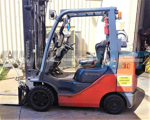 "2012 TOYOTA 8FGCU30 6000 LB LP GAS FORKLIFT CUSHION 98/199"" 3 STAGE MAST SIDE SHIFTER 5037 HOURS STOCK # BF981929-CONB"