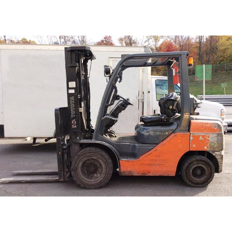 2012 TOYOTA 8FGU30 6000 LB LP GAS FORKLIFT PNEUMATIC 88/187 3 STAGE MAST SIDE SHIFTER 6056 HOURS STOCK # BF9137519-239-CONB