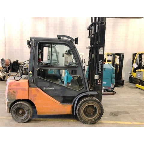 2012 TOYOTA 8FGU30 6000 LB LP GAS FORKLIFT PNEUMATIC 103/159 2 STAGE MAST ENCLOSED CAB SIDE SHIFTING FORK POSITIONER 4057 HOURS STOCK # BF34198-CONB ** ONLY $460.00 PER MONTH **