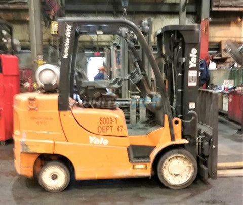 "2014 YALE GC080VX 8000 LB LP GAS FORKLIFT 84/173"" 3 STAGE MAST CUSHION SIDE SHIFTING FORK POSITIONER 2573 HOURS STOCK # BF9141999-CONB"
