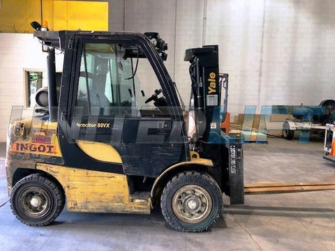 "2013 YALE GP080 8000 LB LP GAS FORKLIFT PNEUMATIC 86/121"" 2 STAGE MAST SIDE SHIFTING FORK POSITIONER ENCLOSED 5992 HOURS STOCK # BF9132039-CONB"
