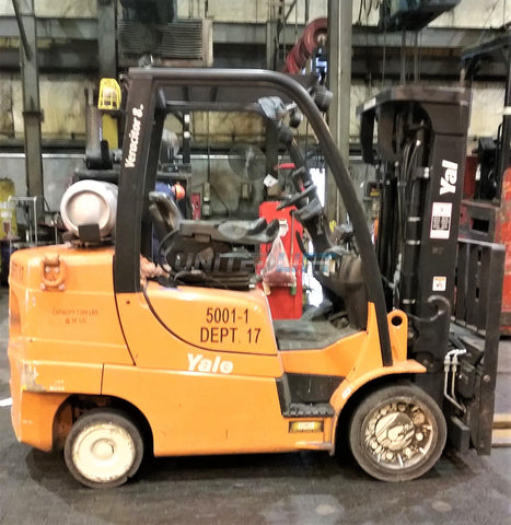 "2014 YALE GC080VX 8000 LB LP GAS FORKLIFT 84/173"" 3 STAGE MAST CUSHION SIDE SHIFTING FORK POSITIONER 2855 HOURS STOCK # BF9142009-CONB"