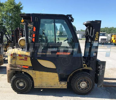 "2013 YALE GP080 8000 LB LP GAS FORKLIFT PNEUMATIC 86/121"" 2 STAGE MAST SIDE SHIFTING FORK POSITIONER ENCLOSED 6794 HOURS STOCK # BF9132029-CONB"