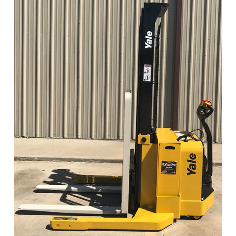 2012 YALE MSW040SFN24TV087 4000 LB ELECTRIC FORKLIFT WALKIE STACKER CUSHION 87/130 2 STAGE MAST 2557 HOURS STOCK # 7866-02913J-ARB