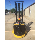 2010 YALE MSW040SFN24TV087 4000 LB ELECTRIC FORKLIFT WALKIE STACKER CUSHION 87/130 2 STAGE MAST 1553 HOURS STOCK # 7475-02217H-ARB