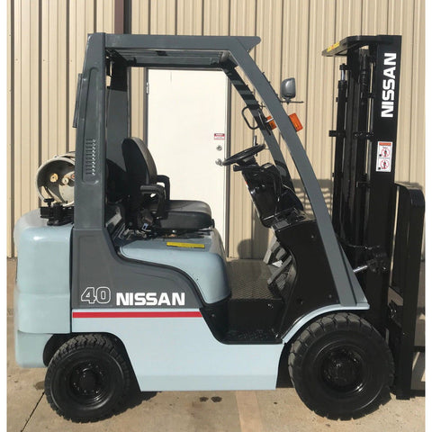 2010 NISSAN MP1F1A20LV 4000 LB LP GAS FORKLIFT PNEUMATIC TIRE 84/130 2 STAGE MAST 8520 HOURS STOCK # 11266-558344-ARB