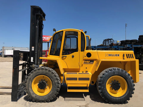 2015 SELLICK S160 16000 LB DIESEL ROUGH TERRAIN FORKLIFT 142/192 2 STAGE MAST 4X4 ENCLOSED CAB PNEUMATIC FORK POSITIONERS 2950 HOURS STOCK # BF9975349-NLTIL