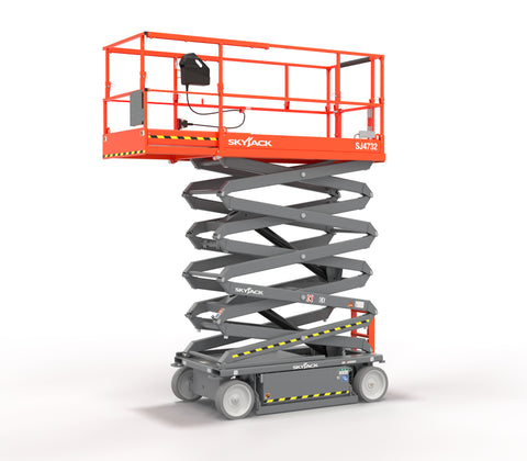 2021 SKYJACK SJIII4632 SCISSOR LIFT 32' REACH ELECTRIC SMOOTH CUSHION TIRES WITH DECK EXTENSION BRAND NEW STOCK # BF9180749-BUF