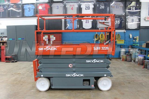 2011 SKYJACK SJ3226 SCISSOR LIFT 500 LB 26' REACH ELECTRIC CUSHION TIRES 174 HOURS STOCK # BF966539-WIB - United Lift Used & New Forklift Telehandler Scissor Lift Boomlift