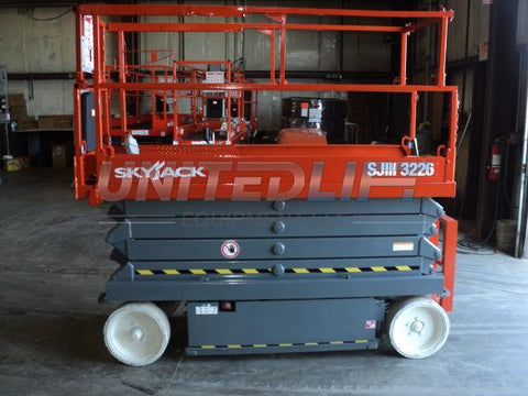 2011 SKYJACK SJP3226 SCISSOR LIFT 26' REACH 500 LB CAPACITY 24 VOLT ELECTRIC SMOOTH CUSHION TIRES 197 HOURS STOCK # BF974549-WIBIL