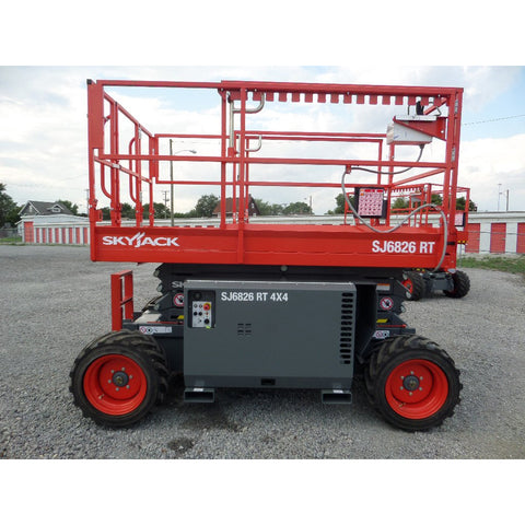 2018 SKYJACK SJ6826RT SCISSOR LIFT 26' REACH DUAL FUEL PNEUMATIC TIRES BRAND NEW STOCK # BF9296529-369-VAOH