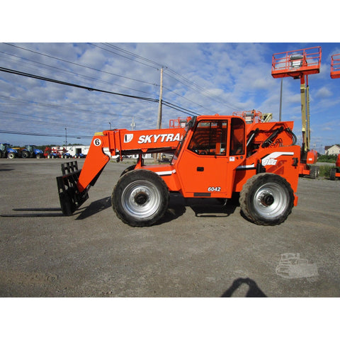 2012 SKYTRAK 6042 6000 LB DIESEL TELESCOPIC FORKLIFT TELEHANDLER ENCLOSED CAB PNEUMATIC 4WD STOCK 2202 HOURS # BF9534669-639-BNYB