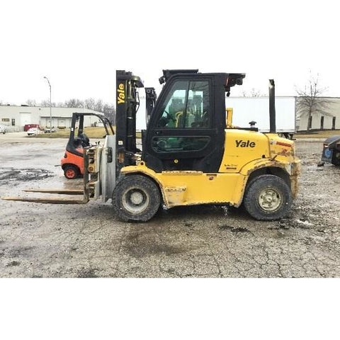 2011 YALE GDP155VX 15500 LB DIESEL FORKLIFT PNEUMATIC 100/118 2 STAGE MAST DUAL TIRES ENCLOSED CAB 5058 HOURS STOCK # BF9295229-PEOH