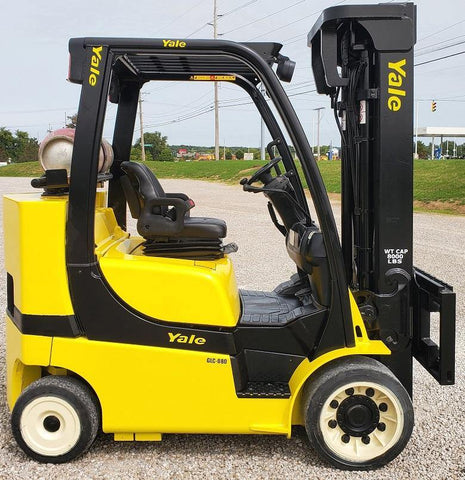"2014 YALE GLC080VXN 8000 LB LP GAS FORKLIFT CUSHION 94/200"" 3 STAGE MAST SIDE SHIFTER 5850 HOURS STOCK # BF9175349-INB - United Lift Used & New Forklift Telehandler Scissor Lift Boomlift"