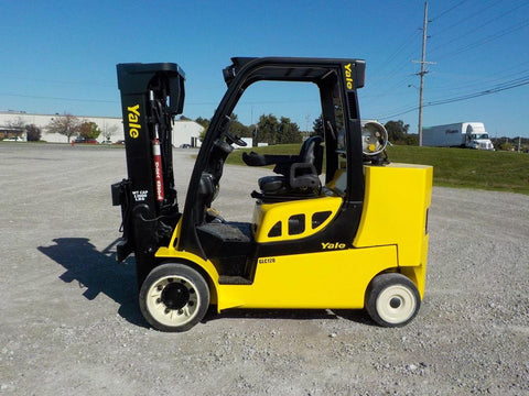 2014 YALE GLC120 12000 LB LP GAS FORKLIFT CUSHION 85/163 3 STAGE MAST SIDE SHIFTER 9873 HOURS STOCK # BF9185849-INB