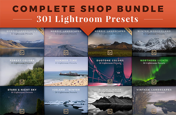Complete Shop Bundle: 20 Products with a total of 301 Lightroom Presets