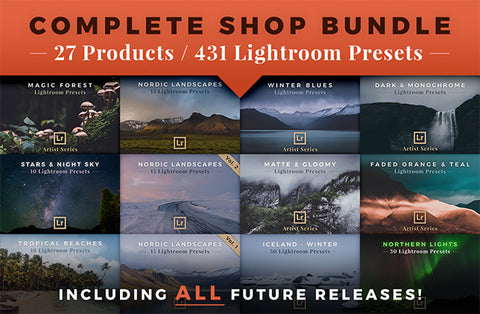 Complete Shop Bundle with +25 products and +400 Lightroom presets