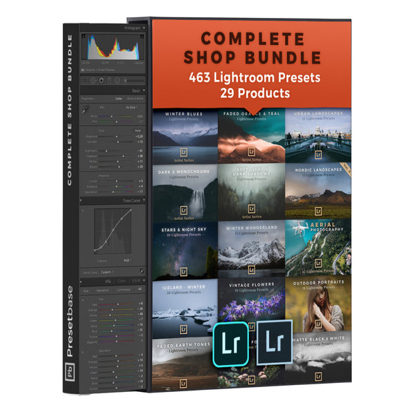 Complete Shop Bundle: 29 Products / 463 Lightroom Presets for Landscape & Travel Photography | Presetbase